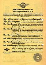 """ADLER Progress 1936 Einzelhandel"""