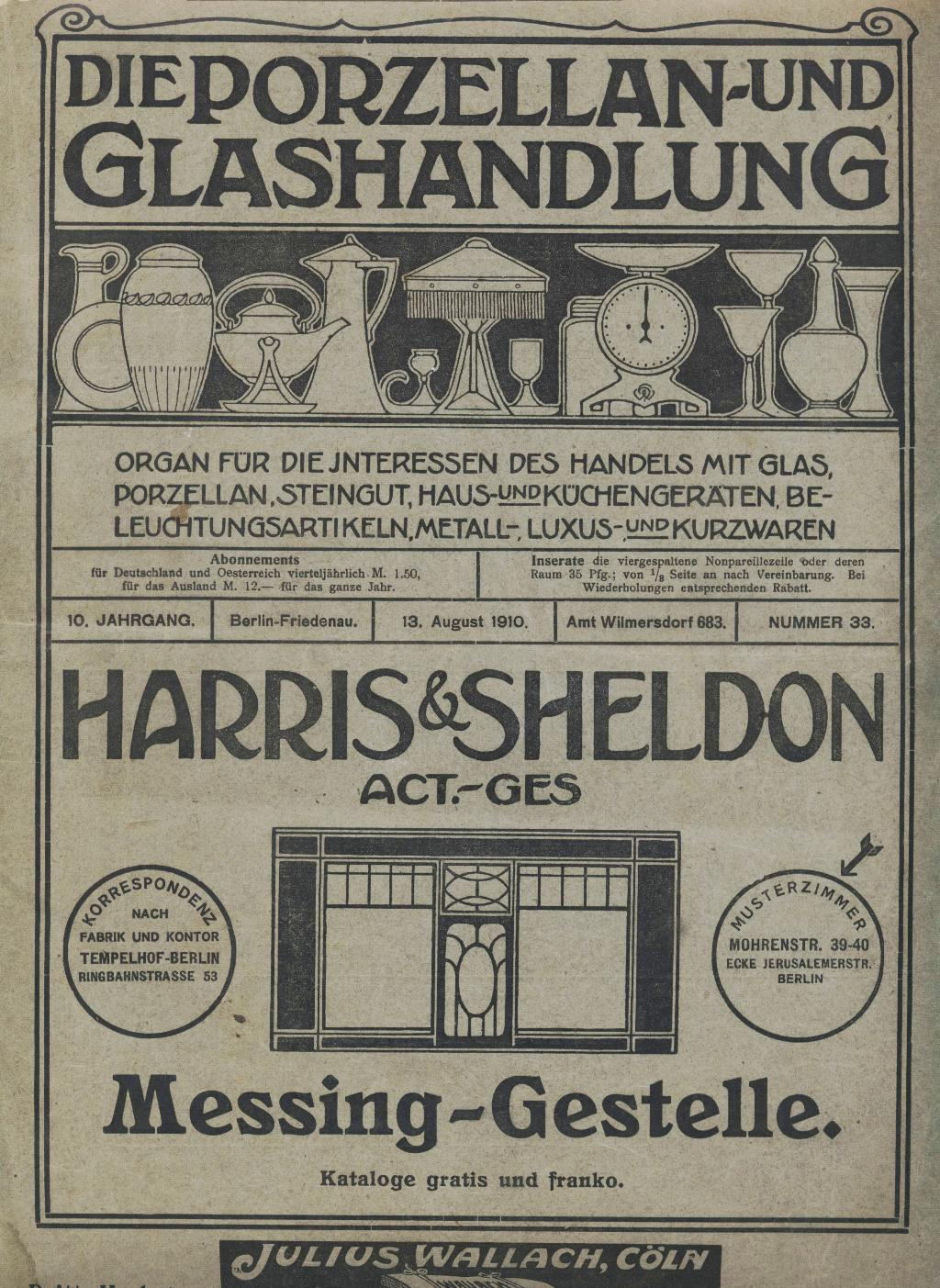 """Porzellan- & Glashandlung<br>August 1910"""