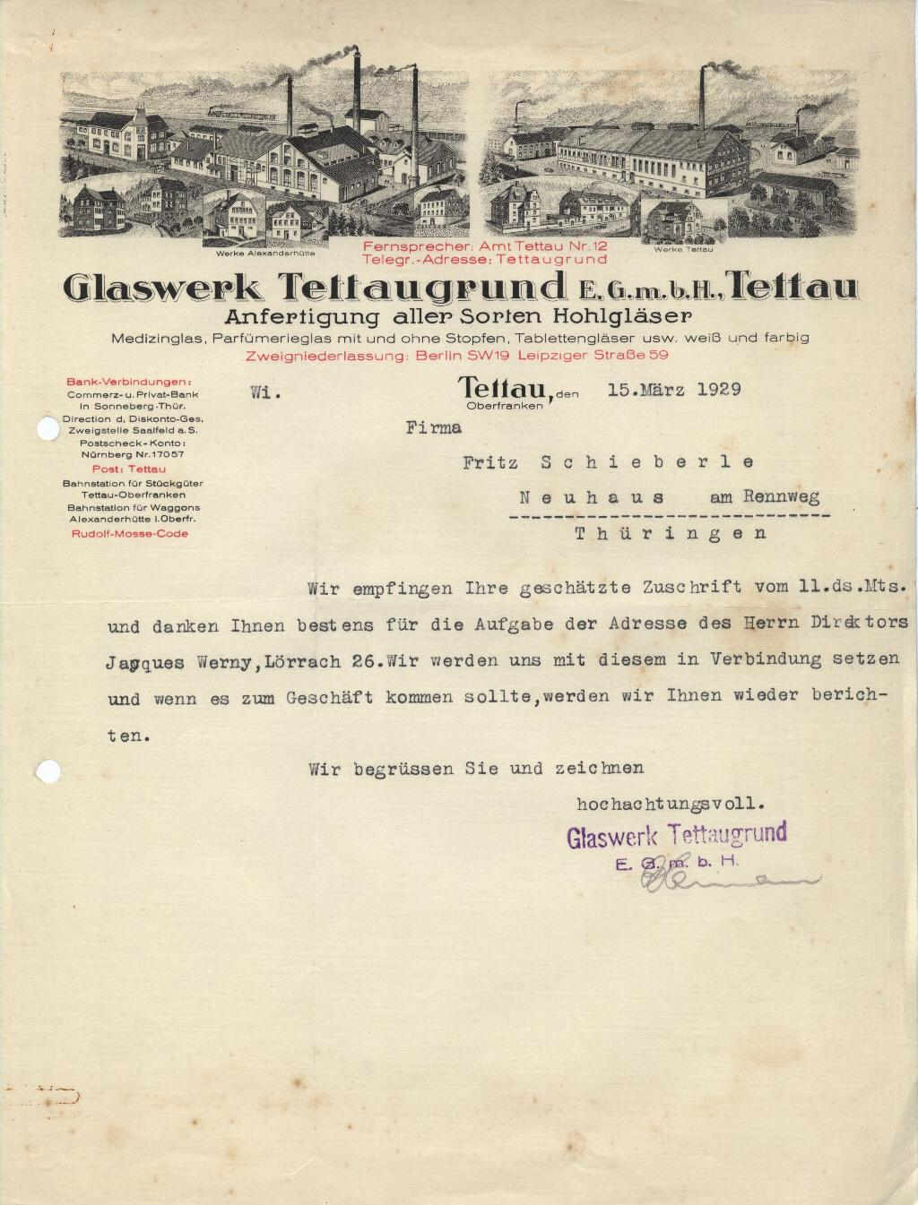 """Glaswerk Tettaugrund 1929"""